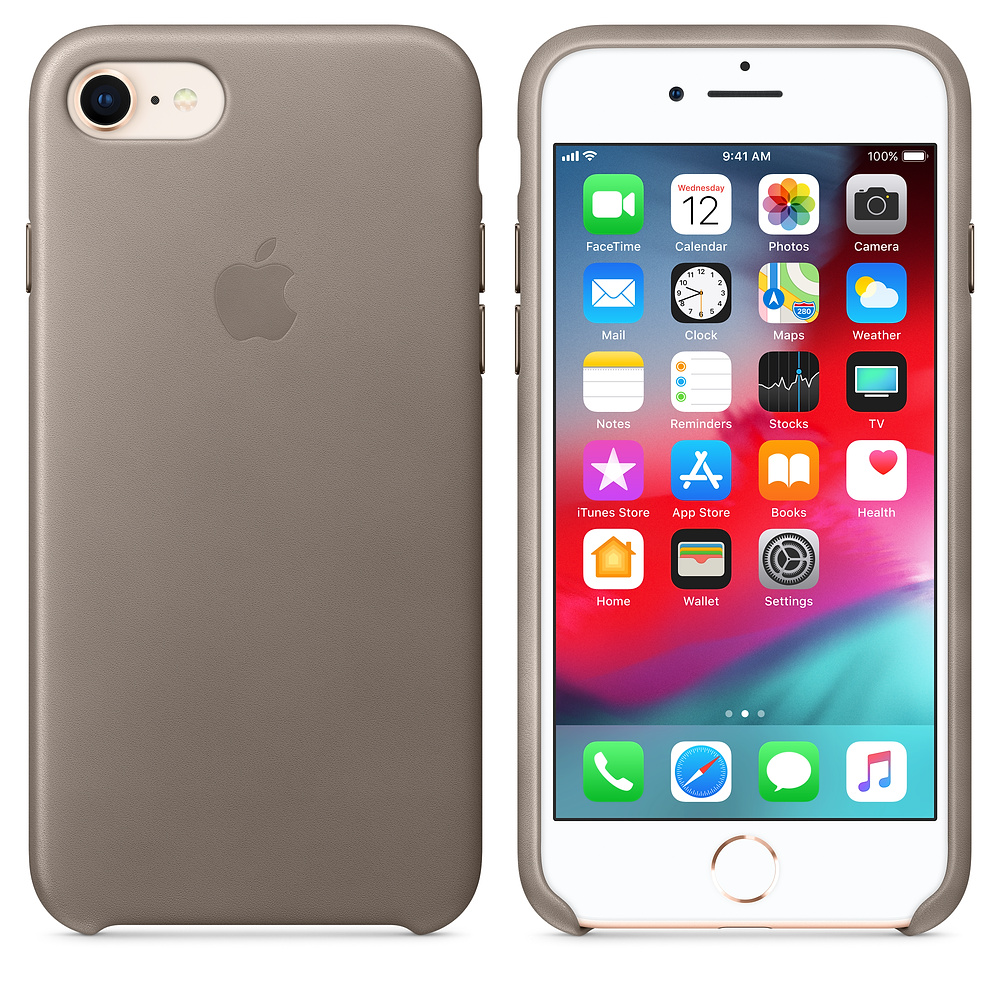 Kožený kryt Apple Leather Case iPhone 8/7 Kouřový (Taupe)