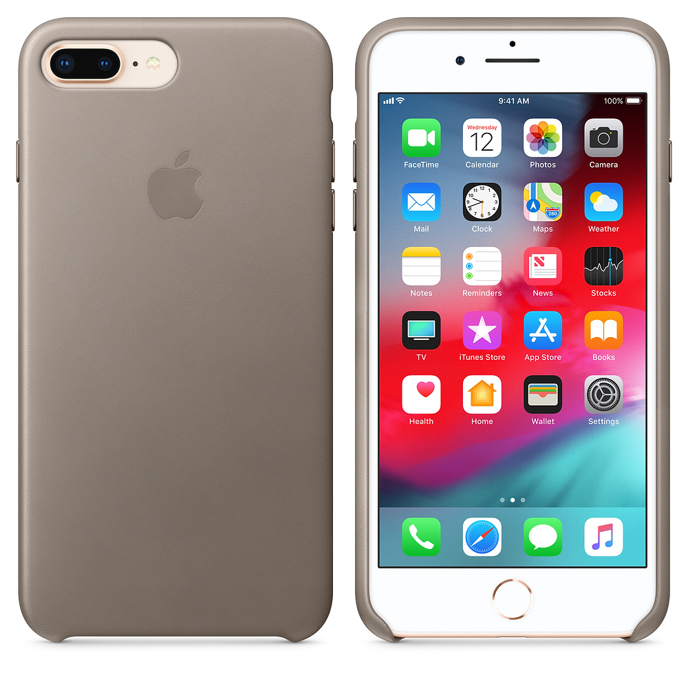 Kožený kryt Apple Leather Case iPhone 8 Plus / 7 Plus Kouřový (Taupe)