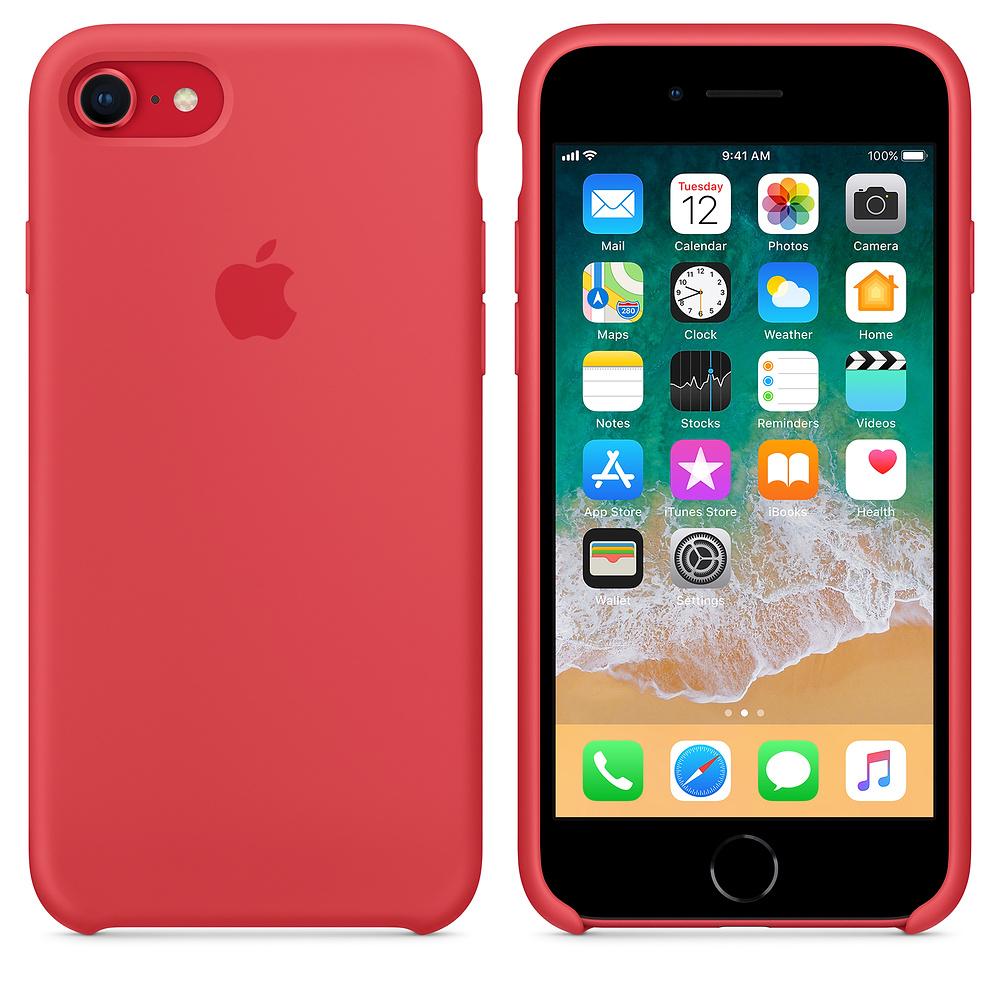 824cd69179 ... Silikonový kryt Apple Silicone Case iPhone 8 7 Malinově červený (Red  Raspberry) ...