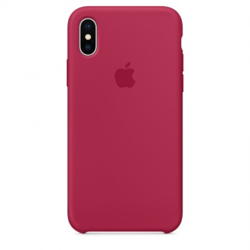 Silikonový kryt Apple Silicone Case iPhone XS/X Vínový (Rose Red)