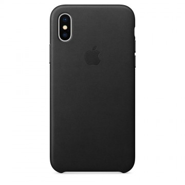 Kožený kryt Apple Leather Case iPhone XS/X - Černý (Black)