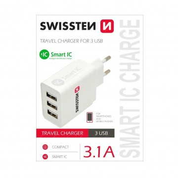 Swissten síťový adaptér Smart IC CHARGE 3x USB 3,1A