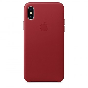 Kožený kryt Apple Leather Case iPhone XS/X - Červený (PRODUCT)Red