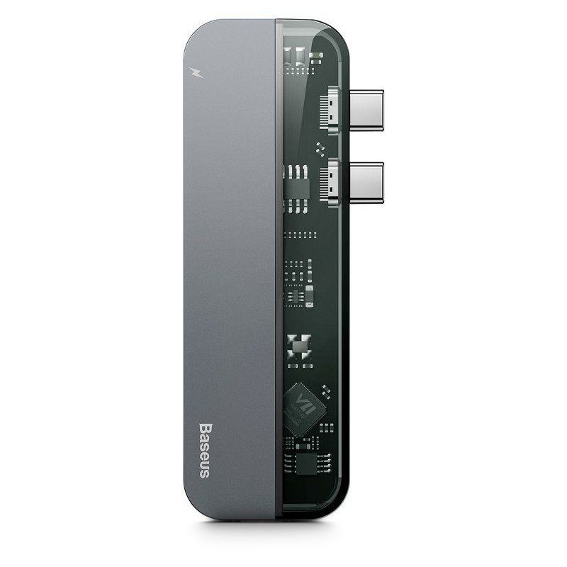 Adaptér Baseus Transparent Series DUAL TYPE-C TO MULTI PORT 5IN1