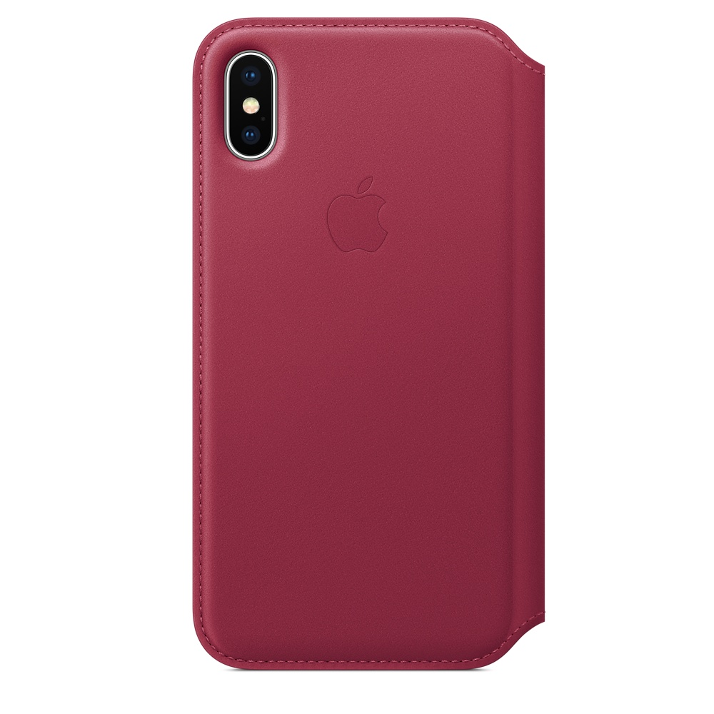 Kožené pouzdro Apple Leather Folio MQRX2ZM/A iPhone XS/X Malinové (Berry)