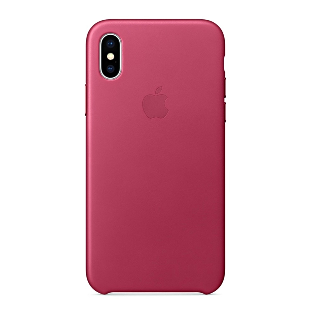 Kožený kryt Apple Leather Case iPhone XS/X MQTJ2ZM/A Fuchsiový (Fuchsia)