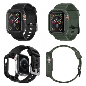 Odolný kryt s řemínkem Spigen Rugged Armor Pro na Apple Watch Series 4/5/6/SE (44mm)