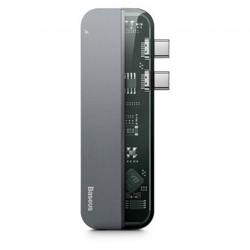 Adaptér Baseus Transparent Series TYPE-C TO MULTI PORT 5IN1